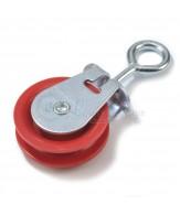 Galvanised pulleys / eye / red polyamide sheave